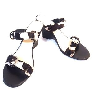 NICOLE Size 8M 'SALUKI' Cow Hyde Sandal Wedges